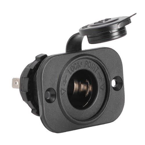 Power socket + plug made of black polycarbonate