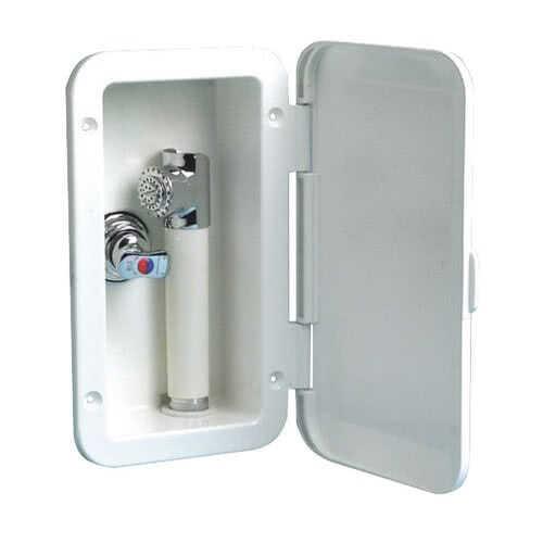 Box doccia con doccia a pulsante Mizar e miscelatore